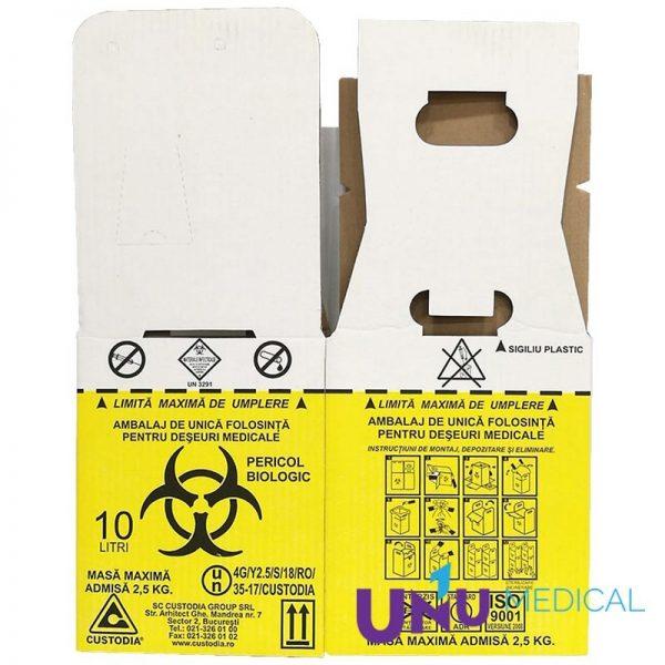 cutie 10L pentru colectare deșeuri infecțioase